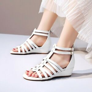 Women's Casual Wedge Sandals Leather Buckle Sandals Hollow Roman Open Toe Shoes