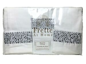 Frette At Home Puntini 4 Piece Sheet Set in Grey & White Cal King Portugal $550