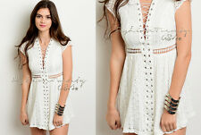 Ivory BOHO 70'S LACE UP A-line Summer Casual COTTON Lace Crochet Mini Dress L