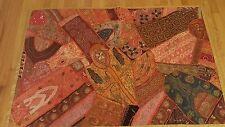 "Large Beautiful Rose Gold and Orange Sari Wall Hanging Tapestry (India) 60"""