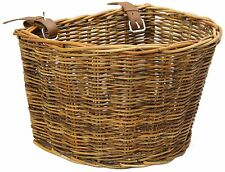 Handmade Traditional Wicker Rattan Bicycle Basket With Leather Straps Lacak