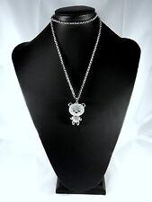 Kette lang Teddy mit Herz Modeschmuck Silber Strasssteine Halskette