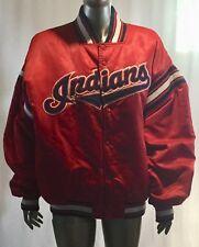 Vintage Cleveland Indians MLB Starter Snap Front Jacket Large Red Satin Diamond
