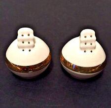 Vtg Art Deco Salt Pepper Shakers White Porcelain Globes Flower Spouts Gold Bands