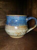 Handmade Artisan Crafted Studio Art Pottery Wide Mouth Blue & Tan Coffee Mug