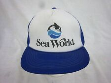 trucker hat baseball cap SEA WORLD snapback cool mesh vintage 1980 flat brim