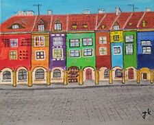 Original Acrilic painting of an ancient  Poznan in Poland. Size 12 in. by 8 in.