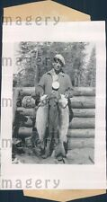 1939 Native American Fisherman With Catch of Trout Eagle Lake Ont Press Photo