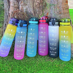 Water Bottle with Time Marker& Fruit Strainer, 1L Bottle with Carrying Strape