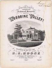 Woodbine Valley, J, Edward Simmons 1858  Antique Masonic sheet music