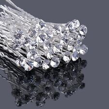 10/40x Clear Crystal Rhinestones Diamante Wedding Bridal Prom Hair Pins Hairpin