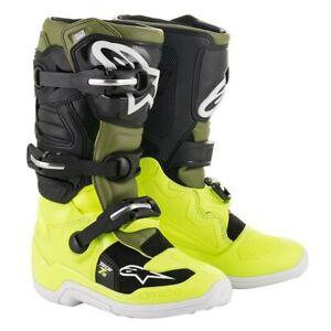 Alpinestars Tech 7s Youth Kids Motocross Boots YELLOW FLUO/MILITARY GREEN/BLACK!