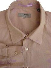 TED Baker Camicia Da Uomo 15 S Marrone Chiaro-Lilla Fiori con trama