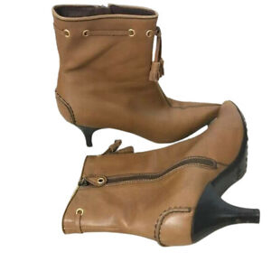 The Original Car Shoe by Prada Women's Size 9 Ankle Boot Tan Leather