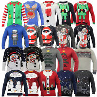 Mens Christmas Jumper Threadbare Xmas Knitted Snowman Santa Novelty Sweater New