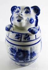 Food Storage Containers GZHEL Handpainted Bear Honey pot Barrel jar 25-2