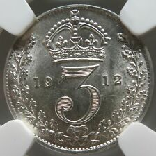 GREAT BRITAIN 3 pence Threepence 1912 NGC MS 63 UNC