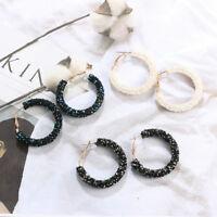 Women Elegant Hook Earrings Crystal Ear Stud Dangle Hoops Fashion Jewelry New H7