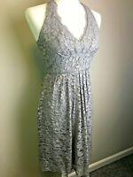 Davids Bridal Women's Dress Gray Lace Halter Boned Lined Guest Bridesmaid size 2
