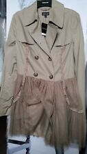 WOMEN TOPSHOP  PARTY TRENCH JACKET/COAT MINI KHAKI FIT/flared UK 12 EU 40 S-M