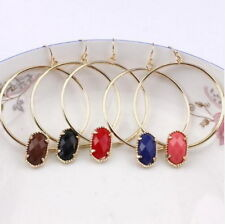 2018 Hot Sale Mini Oval Resin Stone Charm Large Round Circle Earrings for Women