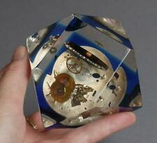 Vintage LUCITE Exploded WATCH/CLOCK Parts PAPERWEIGHT Faceted