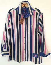 Edwards Heavies ED38 Long Sleeve Cotton Stripe Twill Shirt Electric/Pink S/M