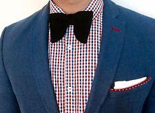 Classic Velvet Vintage Wedding Handmade Droopy Tuxedo Pre-tied black bow tie