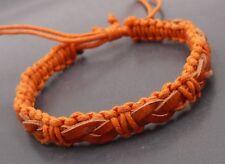 Men Ladies Braided Orange Genuine Leather Bracelet Wristband