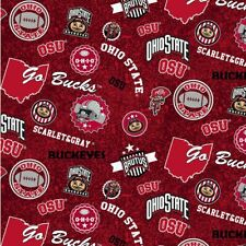 Ohio State University Buckeyes Cotton Fabric with Home State Design-By the Yard