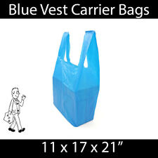 More details for blue vest carrier bag 11x17x21 strong shopping groceries market stalls reusable