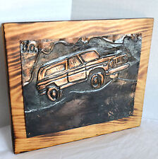 VTG SUV Jeep Copper Hammered Art Repousse Wall Plaque Burned Wood Block Signed