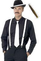 UNISEX GANGSTER KIT TRILBY MOUSTACHE CIGAR TIE & BRACES MOB FANCY DRESS HAT
