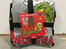 Dr. Seuss Mens Small 2 Piece Sleep Set PJs Grinch I'll Be Good Next Year Fleece