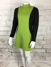 Vintage 60s Two Toned Mod Mini Dress M Shift Scooter Polyester Space Age Green