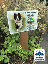 Memorial dog grave marker, Tree stake with photo plaque, Garden or pet cemetery