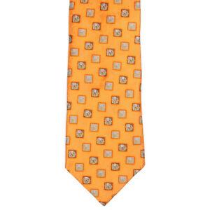 ERMENEGILDO ZEGNA Brilliant Orange Floral Block Print Design Mens Silk Neck Tie