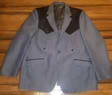 1970's Mesquite VTG Western 2 rockabilly Coat Blazer Gray Mens 48R leather