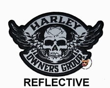REFLECTIVE HOG WINGED SKULL VEST PATCH HARLEY DAVIDSON OWNERS GROUP SMALL