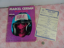 autographe Marcel CERDAN Boxeur  sur menu USA et revue biographie MIROIR