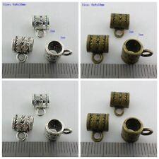 60/90pcs Antique Silver/Bronze Charms Spacer Bead Connectors Bails Pendants