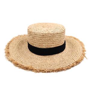 Summer Adult Flat Top Cap Raffia Straw Boater Sailor Hat Floppy Wide Brim Sunhat