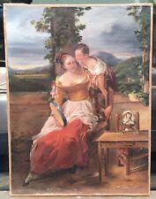 Tableau Ancien Scène Femme Tambourin Poupée Enfant Portrait Paysage Italie XIXe