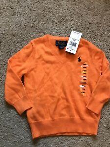 NWT Toddler Boys Orange V-Neck POLO RALPH LAUREN Sweater Size 18 Months NEW