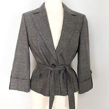 Ann Taylor Loft womens Gray plaid check blazer 3/4 sleeves button blazer size 6