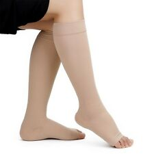 OPEN TOE Compression Socks 20-30mmHg Graduated Knee High Calf Zip 1 & 3 Pairs