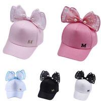 Kids Children Girls Cute Pearl Bowknot Bongrace Hat Streak Baseball Cap Sunhat
