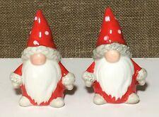 """NEW 3.25"""" Red & White Ceramic Holiday Gnome Salt & Pepper Shaker Set Christmas"""