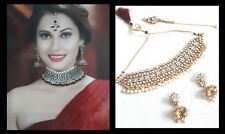New Indian Bollywood Costume Jewellery Set Choker Stone Pearl Gold White Wedding