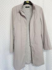Ladies MANGO MNG Trench Coat Size Medium Grey Knee Lenght Full Zipper Funel Neck